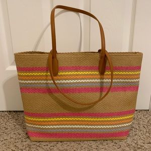 NWT Striped Woven Beach Tote